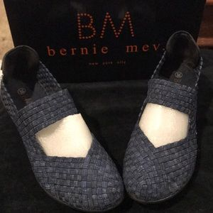 NEW Bernie Merv Mary Jane Blue denim wedge shoe